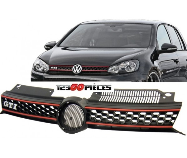 grille de calandre look gti pour volkswagen golf 6 2008 2012 89 90 pi ces design pi ces auto. Black Bedroom Furniture Sets. Home Design Ideas