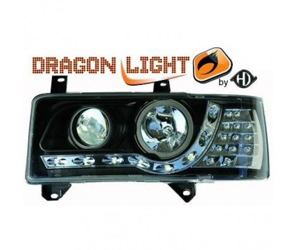 paire de phares led diurnes dragonlights noir pour volkswagen t4 1990 2003 304 90 pi ces. Black Bedroom Furniture Sets. Home Design Ideas