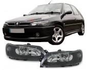 Paire de phares fond noir H7+H7 Peugeot 306 1997-2001