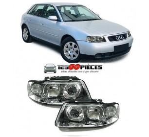 Paire de phares avants H7+H1 pour Audi A3 (8L) 10/2000 au 05/2003 - GO1030182SET