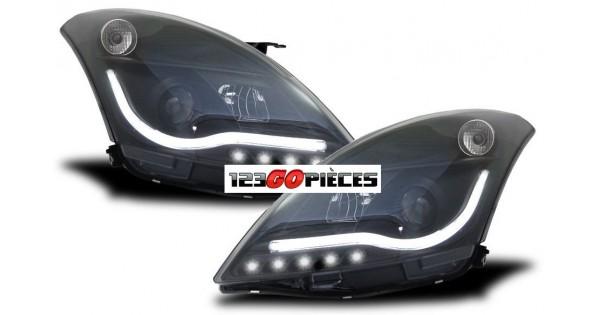 paire de phares led bar tube noir pour suzuki swift 2010 399 90 pi ces design pi ces auto. Black Bedroom Furniture Sets. Home Design Ideas