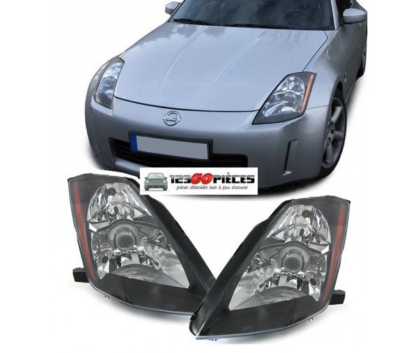Paire De Phares Fond Noir Nissan 350z 2003 2005 429 90