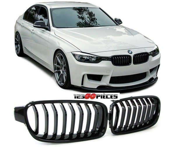 grilles de calandre noire brillant design pack m bmw serie 3 f30 f31 2011 89 90 pi ces. Black Bedroom Furniture Sets. Home Design Ideas
