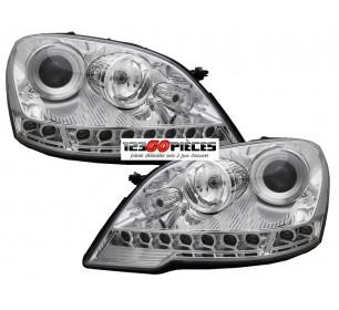 Paire de phares + LED diurnes intégrés (chrome) Mercedes Classe ML W164 2008-2011 - GO1691485