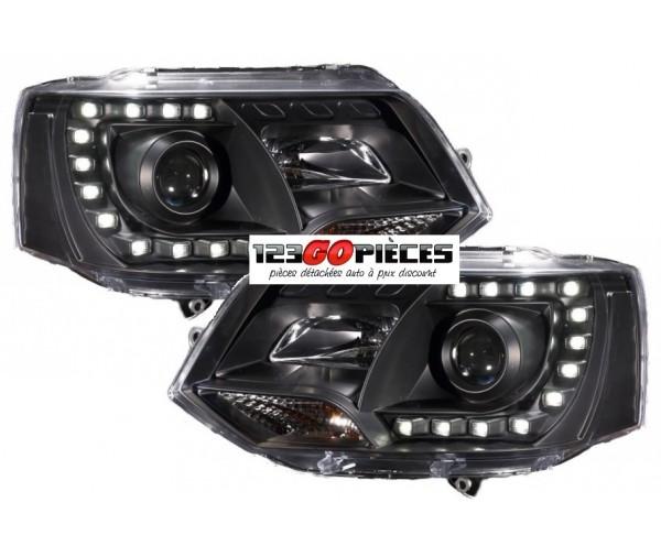 paire de phares h7 h1 feux de jour led noir volkswagen t5 multivan 2009 2015 549 90 pi ces. Black Bedroom Furniture Sets. Home Design Ideas
