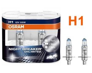 Pack de 2 Ampoules H1 Osram Night Breaker Unlimited 55w 12v