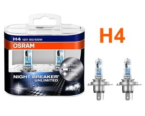 Pack de 2 Ampoules H4 Osram Night Breaker Unlimited 55w 12v