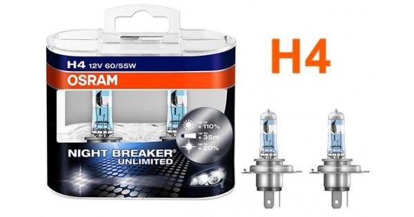 promo pack de 2 ampoules h4 osram night breaker unlimited 55w 12v 24 90 ampoules osram h7 h4. Black Bedroom Furniture Sets. Home Design Ideas