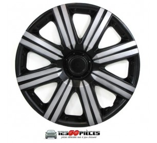 4 enjoliveurs de roues 15 pouces sport noir / gris argent