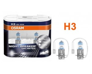 Pack 2 Ampoules H3 Osram Night Breaker Unlimited 55w 12v