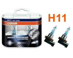 Pack 2 ampoules H11 Osram Night Breaker Unlimited 55w 12v