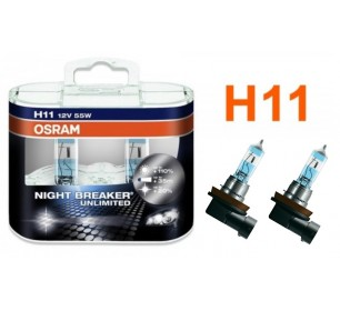 Pack 2 ampoules H11 Osram Night Breaker Unlimited 55w 12v - GO28718-H11-OSRAM